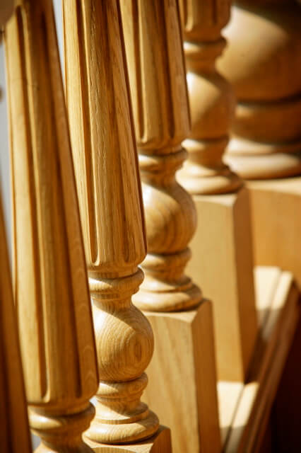 Detail of Oak Fluted Spindles